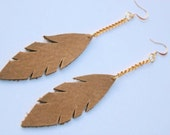Earthy Deep Tan Leather Feather Leaf Dangle Earrings with Gold or Silver Plated Hooks