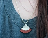 Handcut Leather Asian Fan Necklace - Light Brown & Silver with Silver Plated Ball Chain