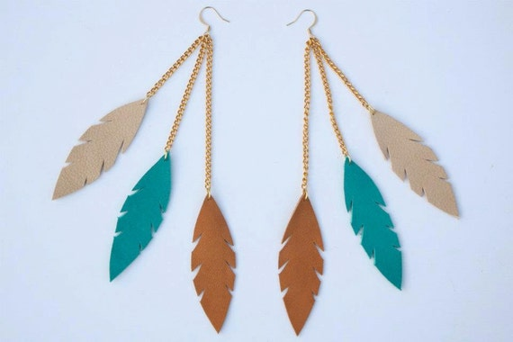 Teal, Sand, and Tan - Triple Feather Leather Earrings on Gold Chains and Gold Plated Hooks