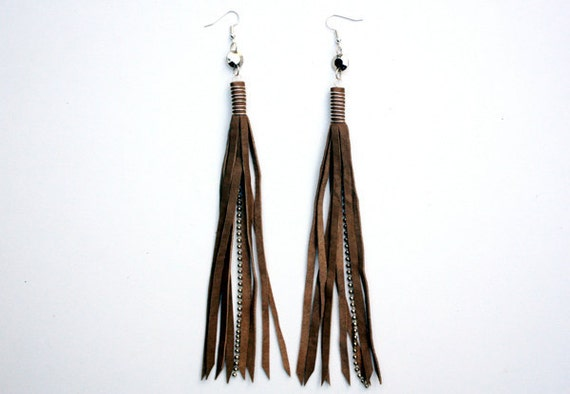 Earthy Light Brown Leather Tassel Fringe Earrings w/ Silver Wire Wrap, Charm, Ball Chain Accent & Silver Plated Ear Wires