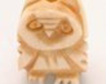 Vintage Hand Carved Bone Figural OWL Button, Ornament: Northwest Coast Indian - FREE SHIPPING