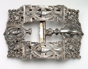 OUTSTANDING 19th c. Ornate Silver Clothing BUCKLE:  Hallmarked Dutch Silver - repeating design of urns, female faces, flowers