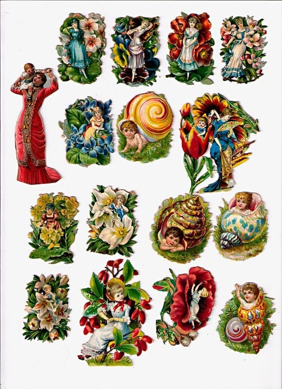 FREE shipping -Great Collection ORIGINAL Victorian Scrap: 16 pieces - flowers, gardens, beautiful ladies, and BABIES
