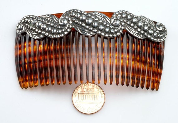 1950's Mexican Sterling Silver:  Elegant signed LOS CASTILLOS hair comb, hair accessory, Taxco, Mexico,  Mid Century