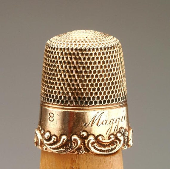 "RESERVED for M GOLD Sewing Thimble c.1930's ""Maggie"""