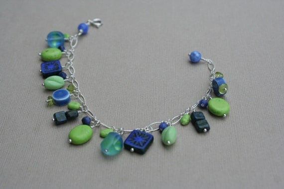 Morning Glory Meadow - sterling silver charm bracelet, blue and green bracelet, spring colors