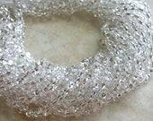 4x2mm Silver Lined Crystal Czech Glass Farfalle Seed Bead Strand (C52)