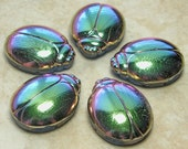 28x22mm 2 Hole Metallic Vitrail with Transparent Cobalt Base Egyptian Scarab Czech Glass Focal Bead (BS25)