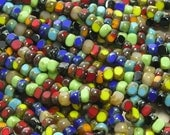 6/0 3 Cut Opaque Color Mixed Picasso Firepolished Czech Glass Seed Bead Strand