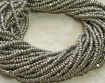 13/0 (1.7mm) Vintage Silver Terra Color Fast Czech Glass Charlotte Seed Bead Hank (CS209)