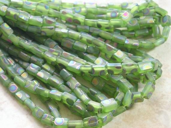 5x3mm Matte Lime Green Vitrail Peacock Czech Glass Baby Pillow Beads TWO Strands