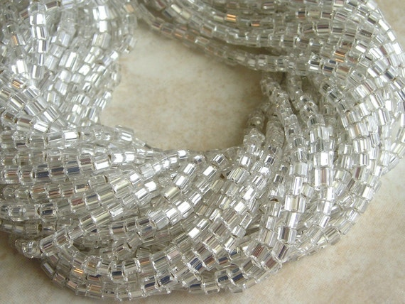 4mm Silver Lined Crystal Czech Glass Cube Bead Hank