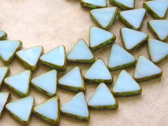 12mm Opaque Blue Turquoise Picasso Edged Table Cut Czech Glass Triangle Beads (B299)