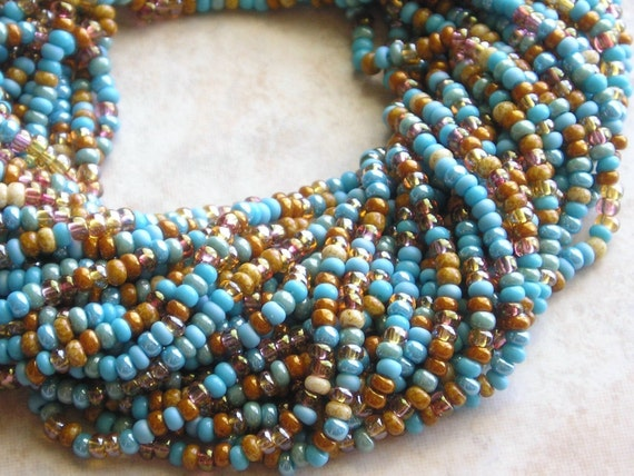 8/0 Turquoise Topaz Picasso Mega Mixed Czech Glass Seed Bead Strand