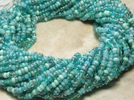 8/0 Seafoam Turquoise Mega Mixed Czech Glass Seed Bead Strand