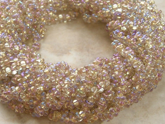 4x2mm Matte Gold Lined Crystal AB Czech Glass Farfalle Seed Bead Strand (AW85)