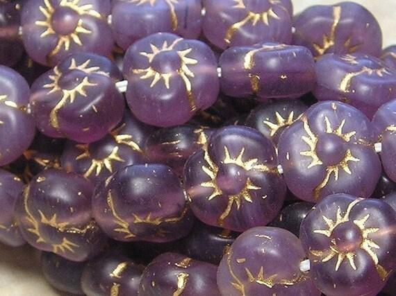 10mm Purple Opaline Gold Inlay Czech Glass Flower Beads
