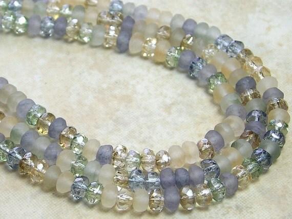 3x2mm Beach Glass Mix Firepolished Czech Glass Rondell Beads