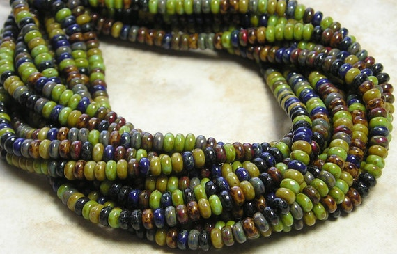 4mm Opaque Color Mixed Picasso Czech Glass Smooth Rondel Beads 9 Inch Strand