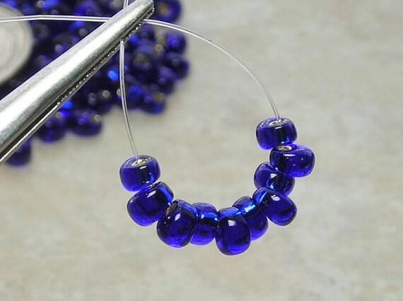 4mm Silver Lined Cobalt Miyuki Magatama Glass Teardrop Beads 10 Grams