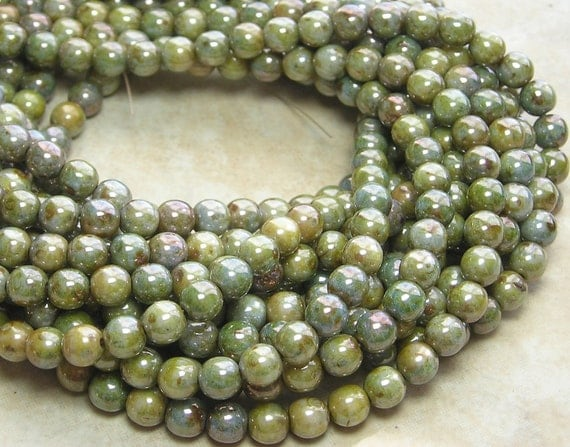 6mm Opaque Green Turquoise Lumi Luster Picasso Czech Glass Beads - Qty 50 (A189)
