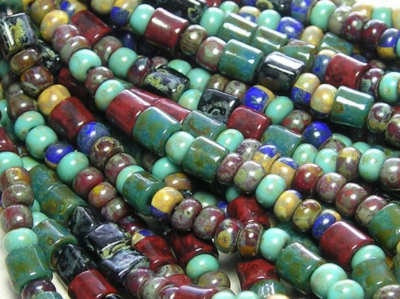 NEW Aztec Picasso Mix with 5mm Vintage Tile Beads 5mm Triangle Beads and 6/0 Czech Glass Seed Beads 1 Strand