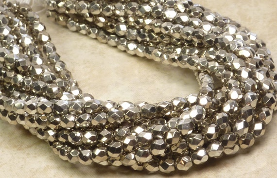 4mm Faceted Metallic Antique Silver Firepolished Czech Glass Beads