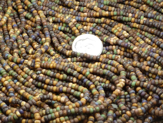 NEW 8/0 Matte Opaque Solids N Stripes Picasso Mix Czech Glass Seed Bead Strand