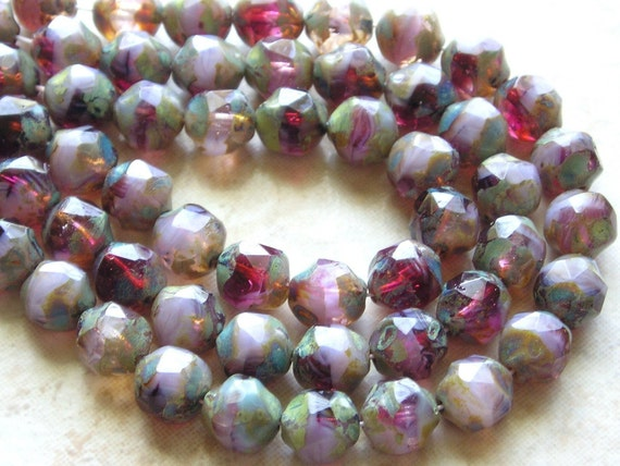 LOVELY 8mm Faceted 2 Tone Amethyst And Opaque Lilac Picasso Firepolished Thru Cut Czech Glass Beads - Qty 15