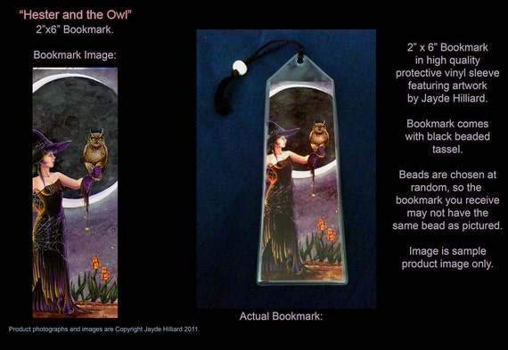 "Halloween Witch Hester and Owl 2x6"" Bookmark with Tassel and Bead"