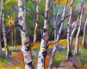 Original Landscape Oil Impressionsist Fall Trees  by Marty Husted