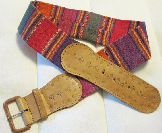 Wide Guatemalan multi-colored fabric and leather belt, Medium