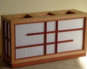 Japanese-Style Rectangular Shoji Box Lamp - Vertical Fir - African Paduak