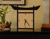 Japanese Style Table Top Bamboo Clock