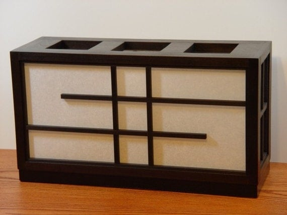Japanese-Style Rectangular Shoji Box Lamp - Alder Wood with Expresso Stain