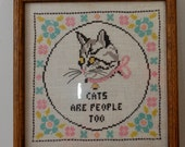 VIntage CATS Are People Too cross stitch framed NICE