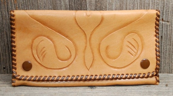 Vintage Tooled Leather Checkbook Wallet hand made