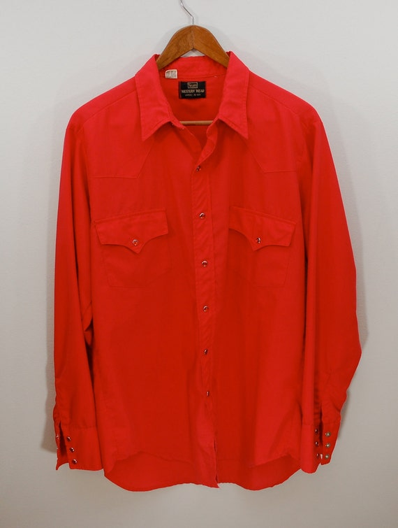 Vintage SEARS Western Wear Cowboy Shirt Sz. Large red with red snaps