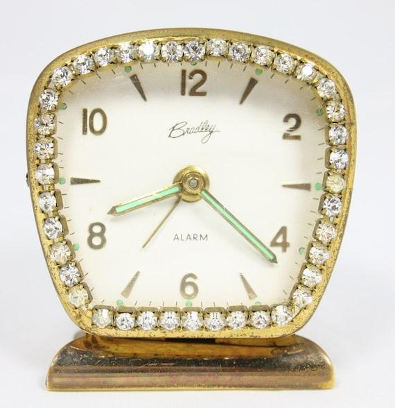 RESERVED for thelmawinger Vintage Alarm Clock, Vanity or Bedside Alarm Clock with Rhinestones by Bradley