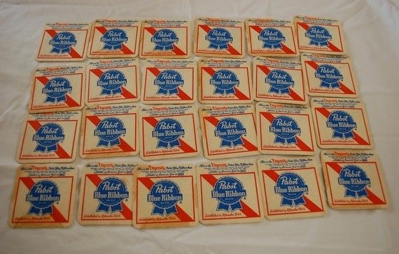Vintage PABST Blue Ribbon Beer cardboard coasters lot of 24 1970's