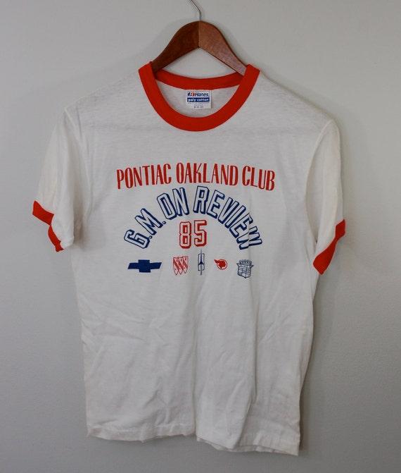 Vintage Buick PONTIAC Oakland Club ringer t-shirt mens medium USA