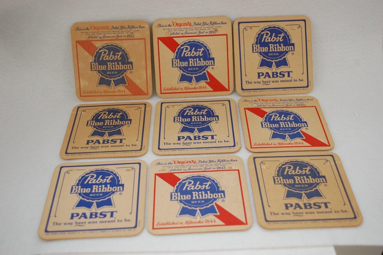 Vintage pabst blue ribbon beer cardboard coasters 1970 39 s - Cardboard beer coasters ...