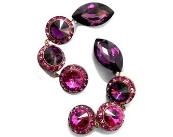 HUGE Pink Earrings, Cut Crystal Pink & Purple Rivoli Glass Rondelles by Mistar Bijoux, Glam Chandelier Earrings, Swarovski Crystal Earrings