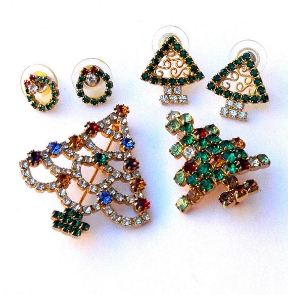 Brooches & Earrings LOT of Rhinestone CHRISTMAS TREES