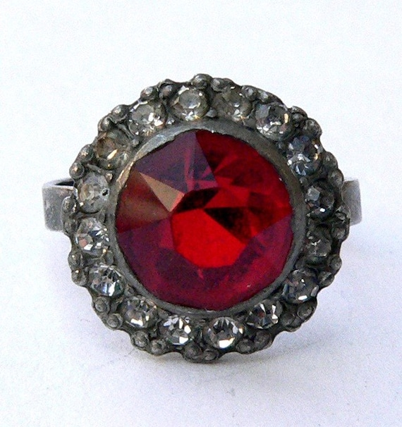 Vintage Cocktail Ring Art Deco UNCAS Red and Clear Cut Crystal Adjustable 1920s