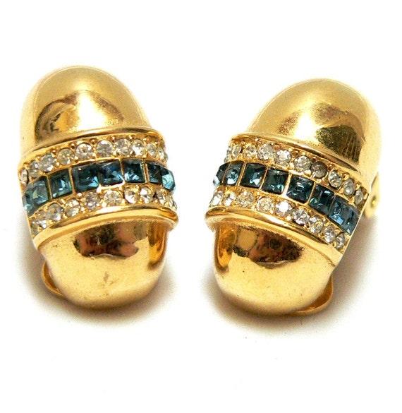 Earrings Christian DIOR Vintage Sapphire Diamonds & Gold Costume Clip 1980s