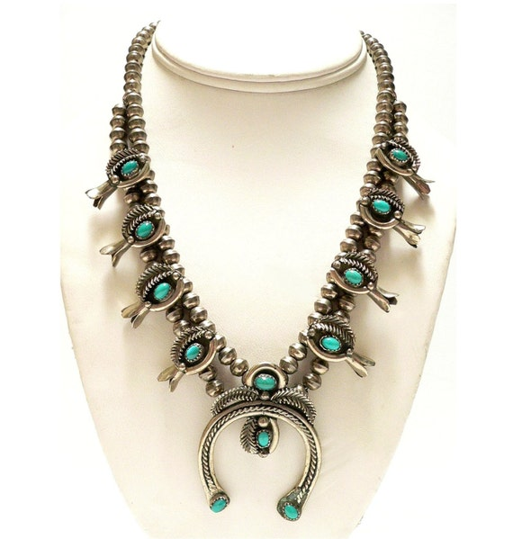 Squash Blossom Necklace Designer HALEY Navajo Turquoise and Nickel Silver - Storewide Holiday Sale