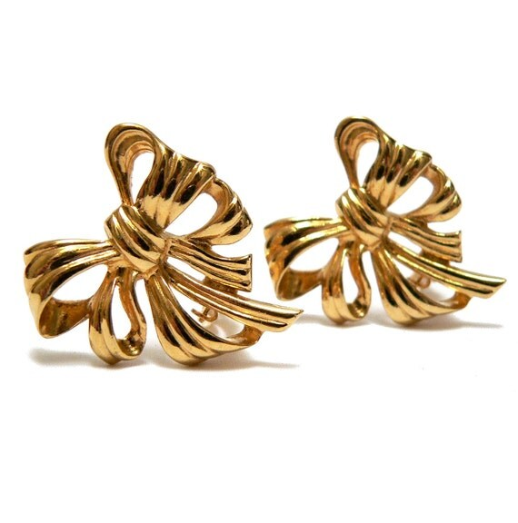 Givenchy Bow Earrings, Couture French Designer, Vintage 1980s Givenchy Paris Jewelry, High Fashion Holiday Earrings Christmas Gold Gift Bows