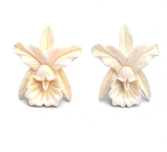 Pre-Ban Ivory Earrings Orchid Flowers Silver Screw Backs 1940s
