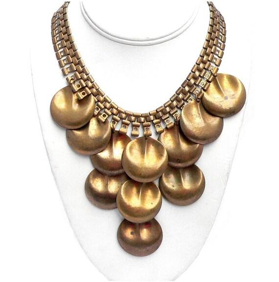 Mod Necklace & Earrings Set Designed by Paula Brass Egyptian Revival 1960s